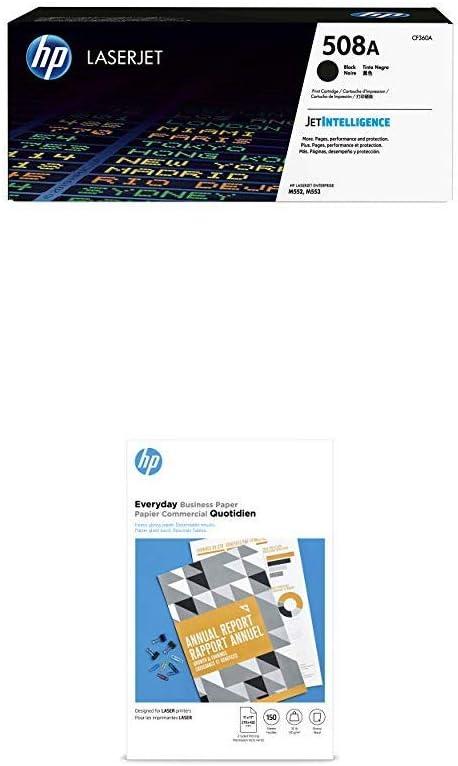 HP 508A Black Toner + HP Flyer Paper, Glossy, Laser, 150 Sheets, 11 x 17