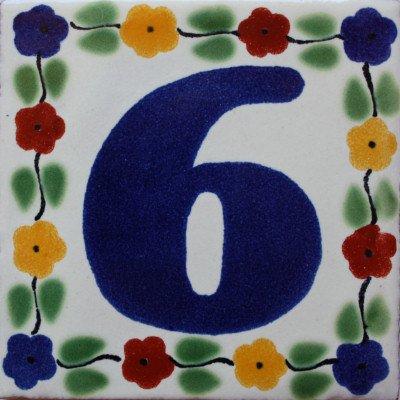 2 pcs Bouquet Talavera Tile Number Six