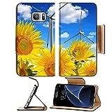 Luxlady Premium Samsung Galaxy S7 Flip Pu Leather Wallet Case IMAGE ID: 41300041 Sunflower field with wind turbines