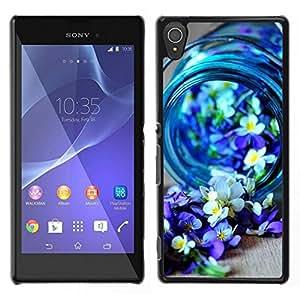 Caucho caso de Shell duro de la cubierta de accesorios de protección BY RAYDREAMMM - Sony Xperia T3 - Blue Spring Blooming Naturaleza Purple