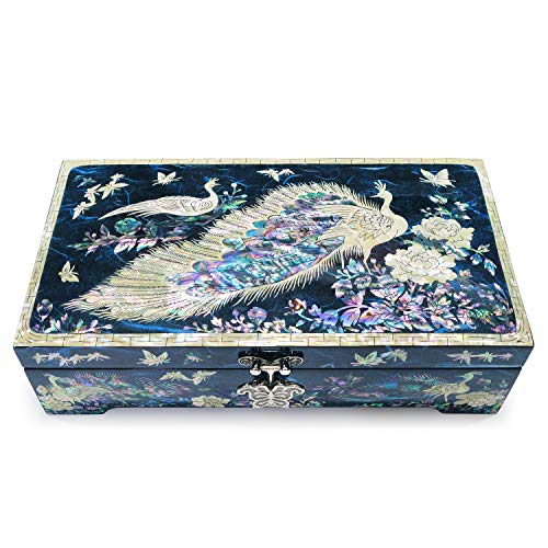 Hand Made Jewelry Box Mother of Pearl Sea Shell Inlaid Removable Ring Organizer Tray Mirror Lid Peacocks Design (Blue) (Shell Design Sea)