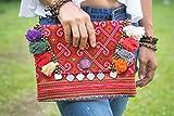 Changnoi Bohemian Clutch Bag Handmade Vintage Hmong Embroidered Pom Poms Fair Trade
