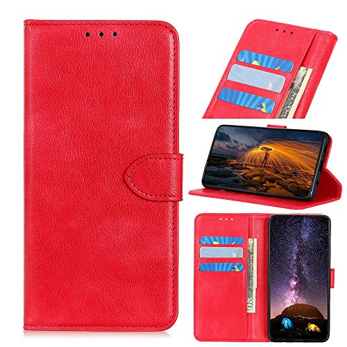 Scheam Leather Case Compatible with Xiaomi Mi 9 Xiaomi Mi 9 Explore, Premium Folio Leather Wallet Case with [Kickstand] [Card Slots] [Magnetic Closure] Flip Notebook Cover Red
