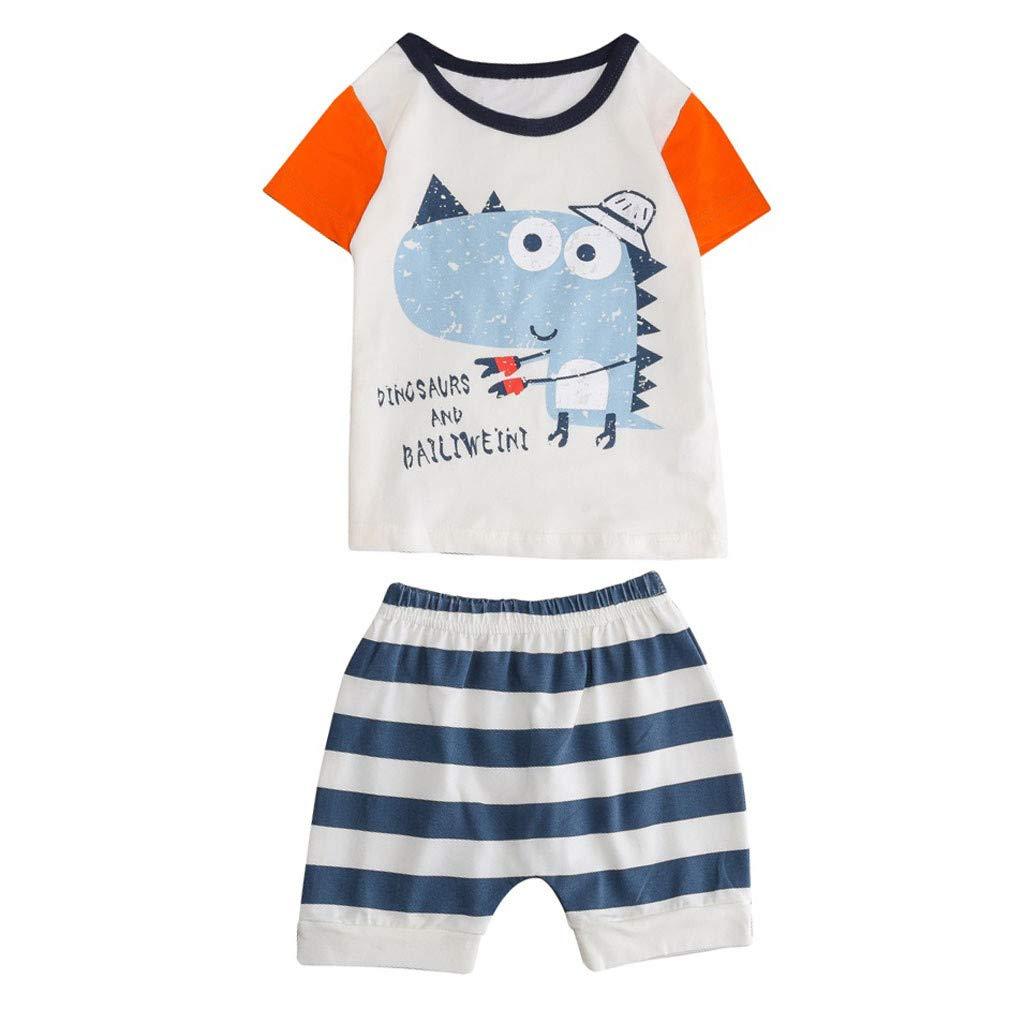 T-Shirt+Shorts Outfits Newborn Infant Baby Boy Girl Short Sleeve Cartoon Top Set