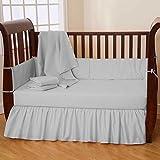 Nursery Baby Toddler Bed Bedding Set 100% Egyptian Cotton 500 TC 5-Piece Set Fitted Sheet, Dust Ruffle Skirt,Comforter,Flat Sheet,Pillowcase (Light gray,Toddler Bed)