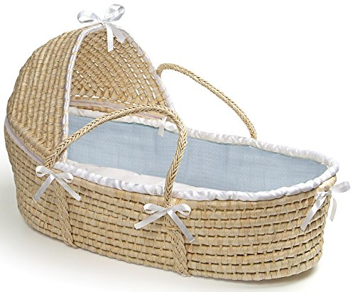 Hooded Moses Basket Natural/Blue Waffle