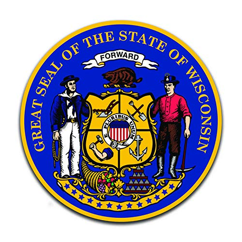 More Shiz Wisconsin State Seal (2 Pack) Vinyl Decal Sticker - Car Truck Van SUV Window Wall Cup Laptop - Two 5 Inch Decals - ()