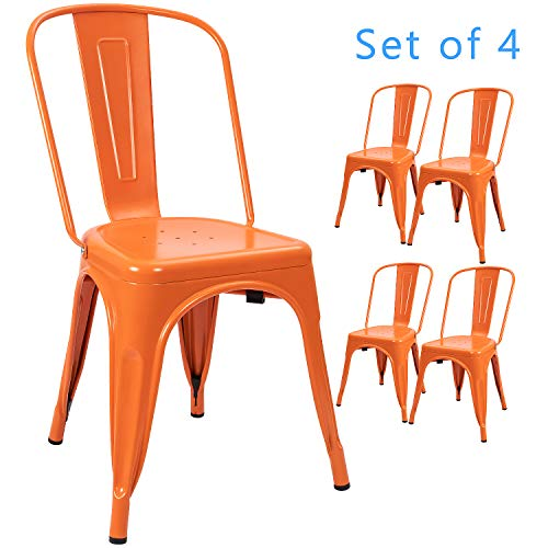 Devoko Metal Indoor-Outdoor Chairs Distressed Style Kitchen Dining Chairs Stackable Side Chairs with Back Set of 4 (Orange)