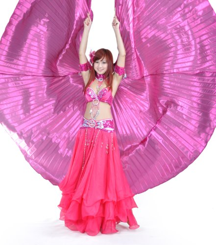 [BellyLady Belly Dance Costume Isis Wings With Sticks, Egyptian 360 Degrees Wing ROSERED] (Golden Belly Dancer Costumes)