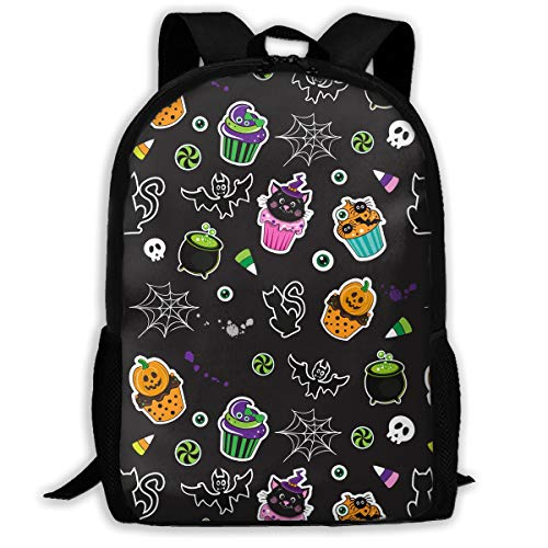 (TAOHJS106 Happy Halloween Cupcakes Pattern Waterproof Adult Backpack Shoulder Bag for Women and Men Premium Durable Rucksack Bookbag Best for Athletic, Hiking, Travel, Camping and Outdoor)