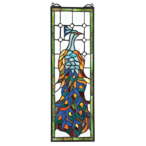 Design Toscano Pleasant Peacock Stained Glass Window, Mul...
