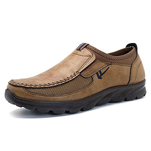 Mens Old Beijing Large Size Slip On Oxford Stitching Non-Slip Casual Shoes (10.5 US, Yellow Brown)