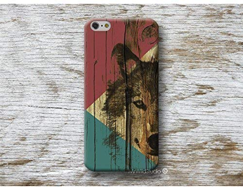 Funda Madera Print Lobo para iPhone 4 5 5s SE 6 6s 7 Plus Samsung Galaxy s8 s7 s6 s5 A5 A3 J5... Huawei LG Moto Oneplus Sony HTC ....
