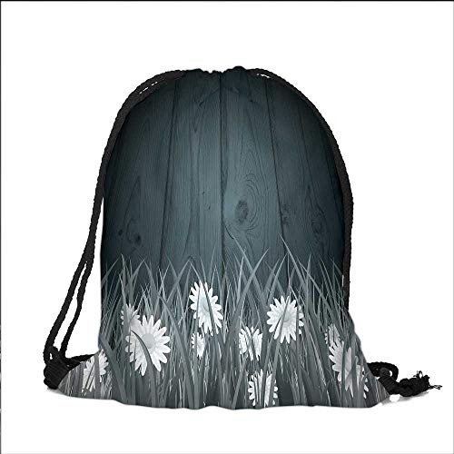Pocket Drawstring Bag Antique Old Planks American Style Western Rustic Wooden and white daisies, thick growth of grass Backpack Student Bag 15