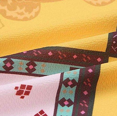 Orange Floral Manches Wrap Femmes Chemises V Imprim Croix Chemisier Longues en Col pP7qB