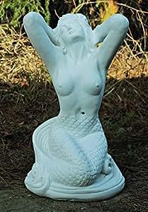 Sirena/blanco sin sombras (z30-a138), Jardín Figura de piedra, altura: 57cm, peso: 40kg