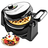 Savisto Rotary Waffle Maker | 180° Rotating Belgian Waffle Iron with Non Stick Cooking Plates | 1000W Electric Waffle Machine with Temperature Control - Cooks up to 4 Waffles