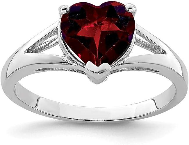 Mia Diamonds 925 Sterling Silver Solid Garnet Ring