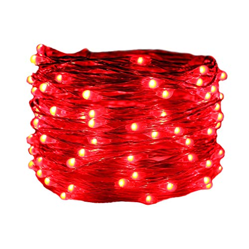 HAHOME Waterproof Fairy String Lights,33Ft 100 LEDs Indoor and Outdoor Starry Lights with Power Supply for Christmas Halloween Wedding and Party Decoration,Red]()
