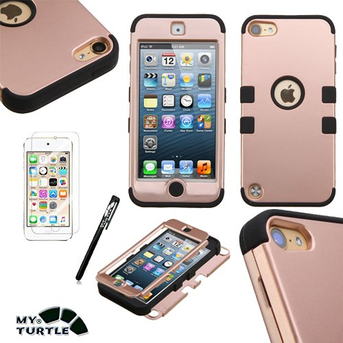 MyTurtle Shockproof Hybrid 3-Layer Hard Silicone Shell Cover with Stylus Pen and Screen Protector for iPod Touch 5th 6th Generation, Rose Gold (Hybrid Shell Ipod)