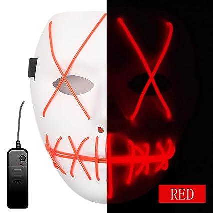 AnseeDirect Purga Mascara Careta Led Mascara Terror EL Wire Light Up Máscaras de Cosplay para Niños Adultos Máscaras para Halloween Disfraz Fiestas