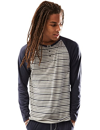 Price comparison product image Rebel Canyon Men's Long Sleeve Printed Cotton Baseball Henley Top Small Navy