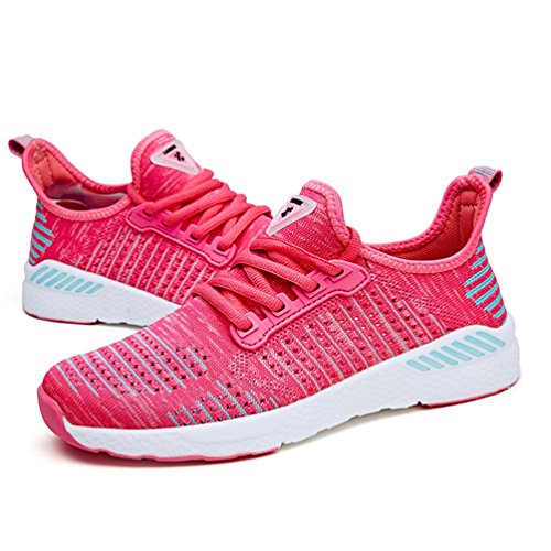 Shoes Pink Athletic Flywire Sneakers Qianliuk Summer up Walking Women Flats Sport Womens Outdoor Shoe Mesh Running Lace ExPwYaqw4