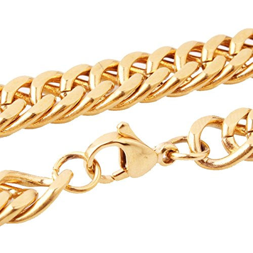Thin 8mm Gold Tone Stainless Steel Men's Curb Link Chain Necklace Jewelry,16-40