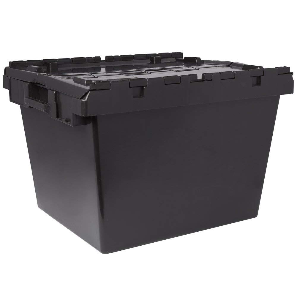 TableTop King SCBL Black Stackable Chafer Box/Storage Crate with Attached Lid - 22 3/4'' x 27'' x 18 1/8''