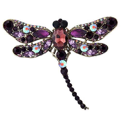 EVER FAITH Austrian Crystal Flying Dragonfly Teardrop Insect Brooch Pin Dark Purple Gold-Tone]()