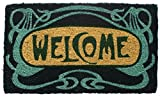 "Entryways Art Nouveau Handmade, Hand-Stenciled, All-Natural Coconut Fiber Coir Doormat,  18"" X 30"" X .75"""