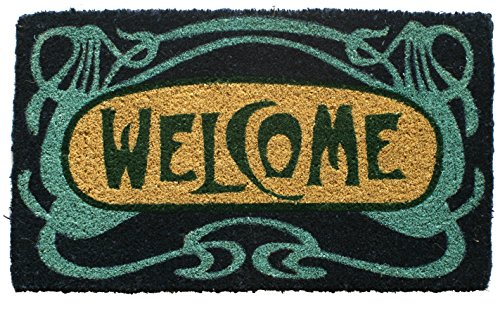Entryways Art Nouveau Handmade, Hand-Stenciled, All-Natural Coconut Fiber Coir Doormat,  18