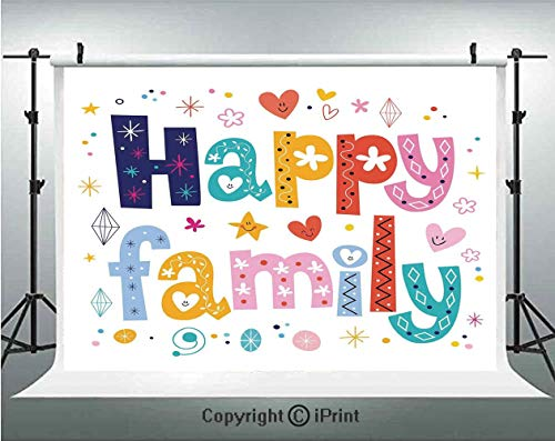 Family Photography Backdrops Happy Family Letters with Flowers Hearts Stars Dots Circles Cartoon Like Artwork,Birthday Party Background Customized Microfiber Photo Studio Props,10x6.5ft,Multicolor