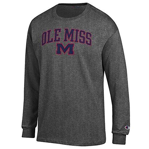 Elite Fan Shop Mississippi Ole Miss Rebels Long Sleeve Tshirt Varsity Charcoal - - Ole Sleeve Long Miss