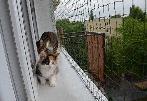 Bird-Tech Balkonnetz, Schwarz, für Katzen und Vögel, 5 x 5 m + 50 FastNet© + 1 Tube Silikon 80 ml …