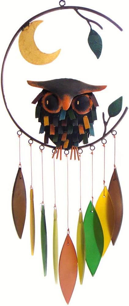 Amazon Com Blue Handworks Spiky Owl Glass Wind Chime Wind Noisemakers Garden Outdoor