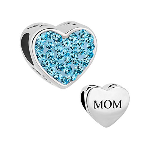 QueenCharms 8 Colors Heart Mom Charm Mother's Day Beads For Mommy Jewelry -