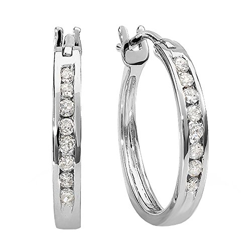 14k Gold J Hoop Clip - Dazzlingrock Collection 0.18 Carat (ctw) 10K Round White Diamond Ladies Fine Hoop Earrings, White Gold