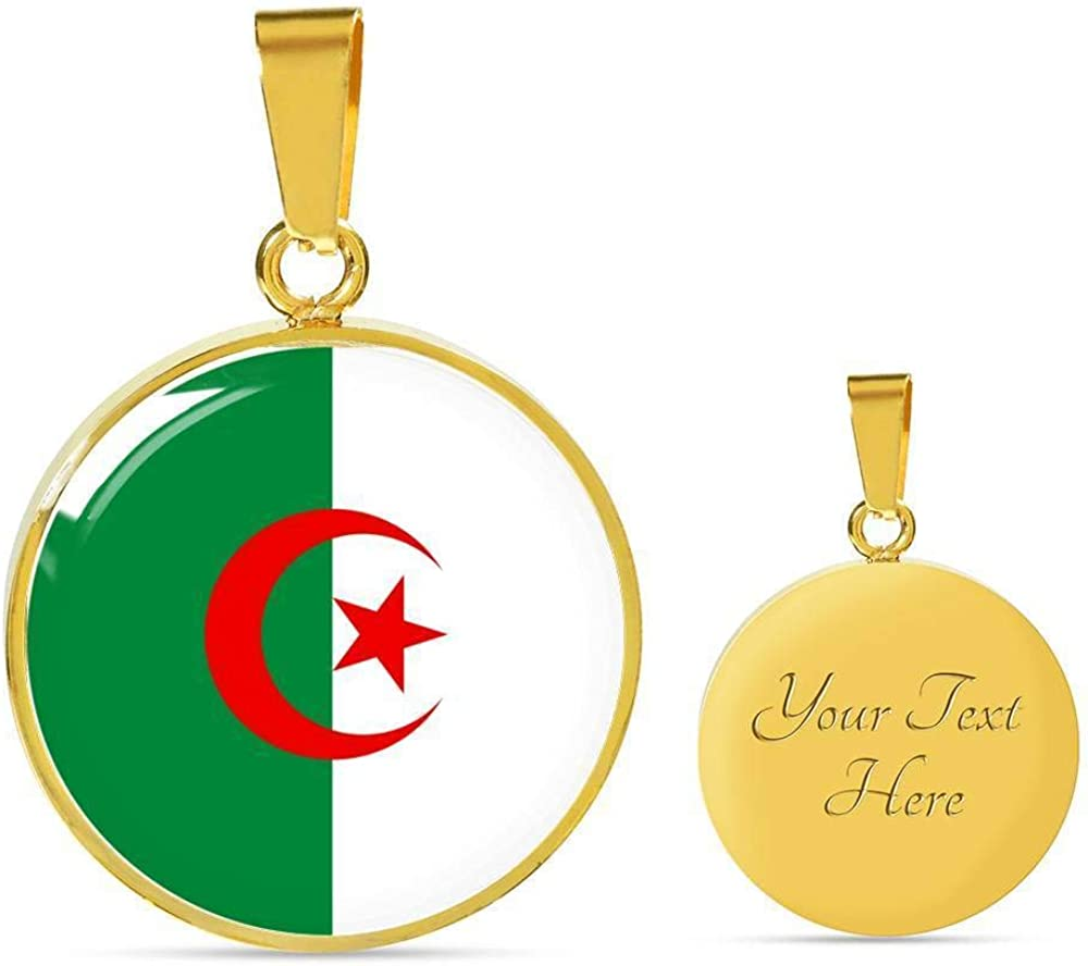 Express Your Love Gifts Algeria Flag Necklace Algeria Flag Stainless Steel or 18k Gold 18-22