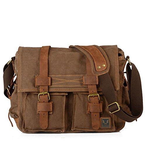 Sunbobo Bolso de la cámara de la lona de la prenda impermeable con cremallera retro simple Bolso de la bolsa de hombro de la cartera del maletín Color marrón