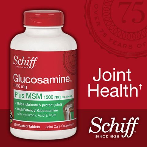 Schiff Glucosamine 1500mg Plus MSM 1500mg and Hyaluronic Acid, Joint Supplement, 600 Count , Schiff-f8 by SCHIFF