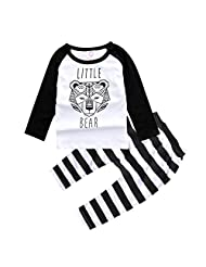 Baby Cotton Long Sleeve Tiger T-shirt+Striped Pants Outfits for Boys Girls