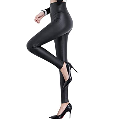05404af6daaa5 Women High Waisted Faux PU Leather Leggings Stretchy Slim Fit Trousers  (Matte Black, XS