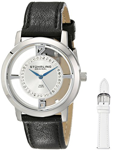 Stuhrling Original Women's 388L2.SET.01 Analog Winchester Tiara Swiss Quartz Swarovski Crystal Black Leather Strap Watch with Interchangeable White Leather Band