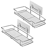 HOMEIDEAS Bathroom Shelf (Adhesive Shelf) Kitchen Organizer Rack Shower Caddy for Shampoo Holder, Wall Mounted, No Drilling, SUS304 Stainless Steel, Pack of 2