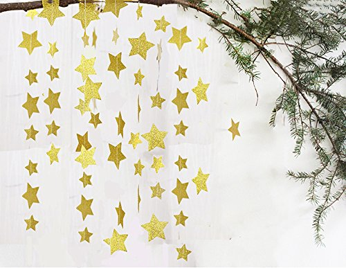 Fecedy Sparkling Star Garland Bunting for Baby shower,Wedding Party 13 feet 1pcs(Gold) Gold Star Garland