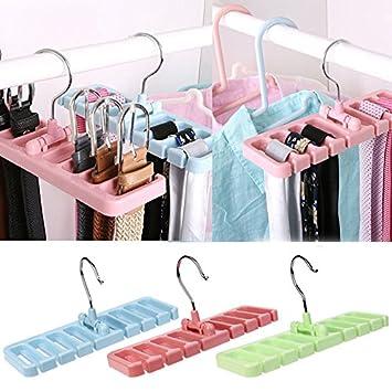 Closet Storage Tie Scarf Holder Rack Hanger Belt Clothes Organizer with Hook 1pc