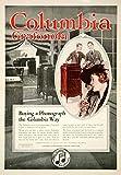 1918 Ad Vintage Columbia Grafonola Cabinet Phonograph Salesroom Salesman YNM6 - Original Print Ad