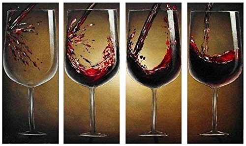 JOJOIL Art Hand Painted Modern Canvas Painting Art of Red Wine 4 Piece Framed Painting Artwork for Living Room