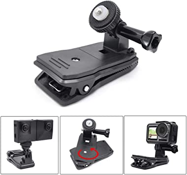 Yifant Backpack Clip Mount Stand for DJI OSMO Action//Insta 360 Camera Expansion Accessory 360/° Rotated Clamp with 1//4 Screw Adapter